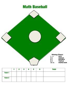 Math Baseball Addition Center Activity