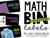 Math Bin Labels - Black or White Backgrounds