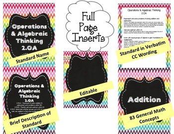 Math Binder Covers, Labels & Spines {4th/5th grade CCSS +