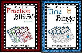 Fraction and Time Bingo! - Math Bingo  (2 sets of 36x sheets)