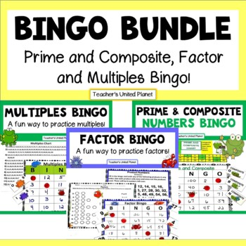 Math Bingo Bundle! Prime and Composite, Factor and Multipl