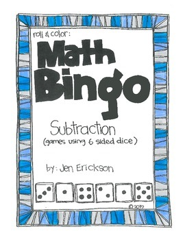 Math Bingo: SUBTRACTION (using 6 sided dice)
