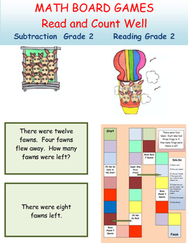 Subtraction Board Game Grade 1 Math and Grade 1 Reading
