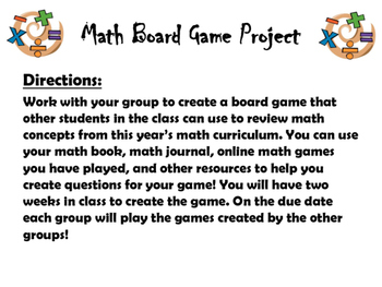 Math Board Game Project (End of the Year)