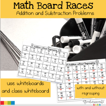Math Board Races for Addition and Subtraction with and wit