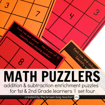 Math Brain Puzzles Set 4: 1st & 2nd Grade Enrichment