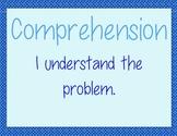 Math CAFE bulletin board headings AND strategies--Blue
