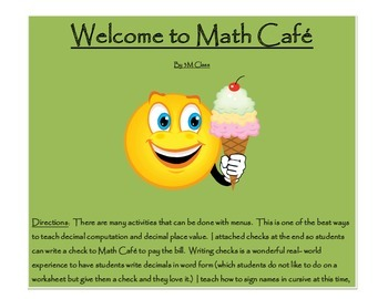 Math Cafe using Decimal Computation