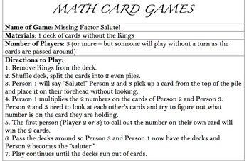 Math Card Games (3 for beginning/end of year fun or as a s