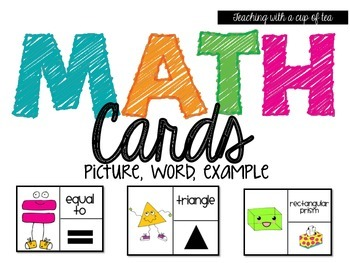 Math Cards: 2D & 3D shapes, math symbols