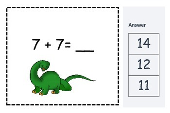 Dinosaur Math Center-Addition/Doubles/Missing Number