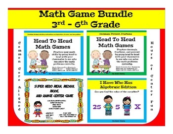 Math Center Game Bundle, Decimals, Fractions, Percent, Var