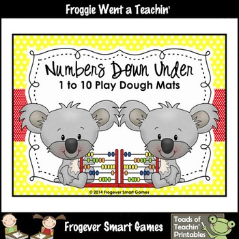 Math Center--Numbers Down Under 1 to 10 Play Dough Mats (koalas)