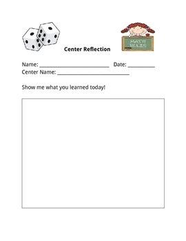 Math Center Reflection Log