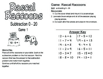 Math Center - Subtraction Center Activity up to 20 for up