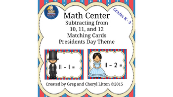 Math Center Subtraction from10, 11, and 12 Matching Cards,