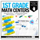 Math Centers {1st Grade} 26 Centers, Labels, and Visual Directions