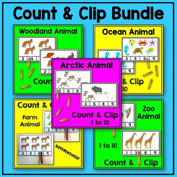 Animal Count and Clip Math BUNDLE (arctic, farm, ocean, wo