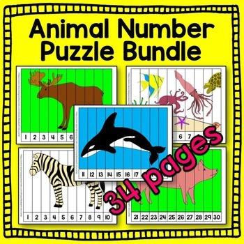 Animal Number Puzzle BUNDLE (arctic, farm, ocean, woodland