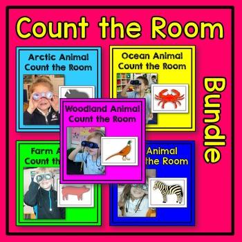 Animal Count the Room Math Center BUNDLE (arctic, farm, oc