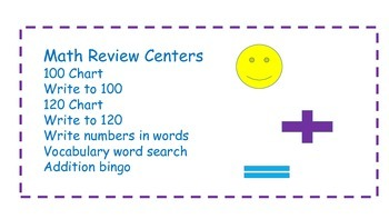 Math Centers- Review for end of year or beginning of the year