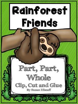 Math Centers - Solve, Clip and Glue - Rainforest Friends