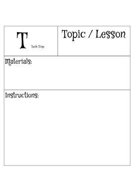 "Math Centers ""T"" template Tech Time"