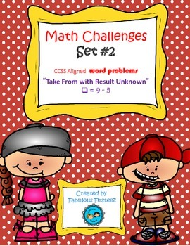 """Math Challenges Set #2 CCSS Word Problems"""" Take From/ Resu"""