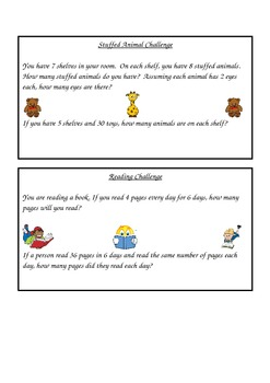 Math Challenge Task Cards Multiplication 2 Step