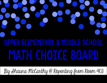 Math Choice Board