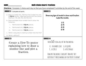 Math Choice Board Fractions
