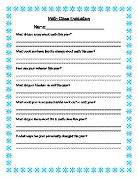 Math Class Evaluation Form