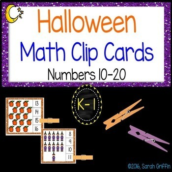 Halloween Math Center ~ Clip Cards - Numbers to 20