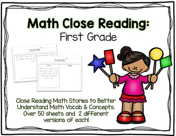 Math Close Reading First Grade Pack - 50+ Word Problems & Stories