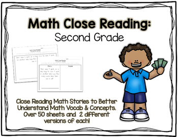 Math Close Reading Second Grade Pack - 50+ Word Problems &