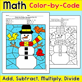 Winter Math Snowman Color by Number: Add, Subtract, Multip