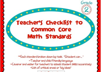 2nd Grade Common Core Math Standards Guide and Assessment