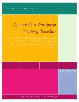 Math Common Core Checklist: Grade 3