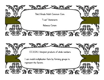 "Math Common Core ""I Can"" Statments"