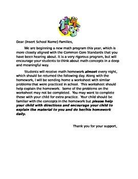 Math Common Core Letter to Parents