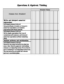 Math Common Core Standard Tracking Chart - Grade 5