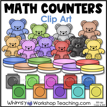 Math Counters: Two Sided and Colorful Bears - Whimsy Works