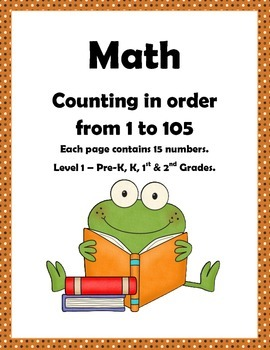 Math: Counting to 105: Number sequencing Level 1: Pre-k, K