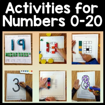 Kindergarten Math Centers and Numbers 1-20 with Snap Cubes