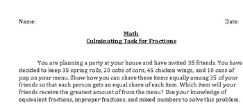 Math Culminating Task
