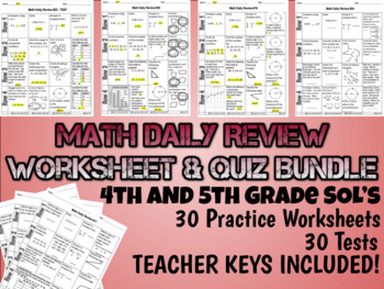 Math Daily Review Worksheet Bundle - 5th Grade SOL's - 30