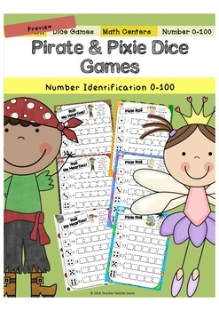 Math Dice Games Pirate and Pixie Number Identification 1-100 K-2