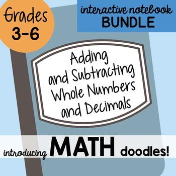 Math Doodles Interactive Notebook Bundle 2 - Adding and Su