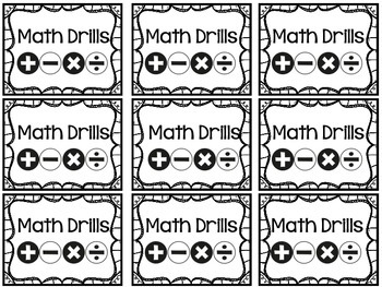 Math Drill Labels