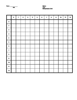 Math Drill Sheet, Multiplication Grid, with answers, PDF